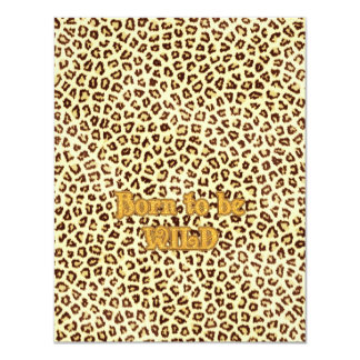 """Image of Glitter """"Born to be Wild"""" on Leopard Personalized Invites"""