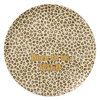 """Image of Glitter """"Born to be Wild"""" on Leopard Dinner Plate"""