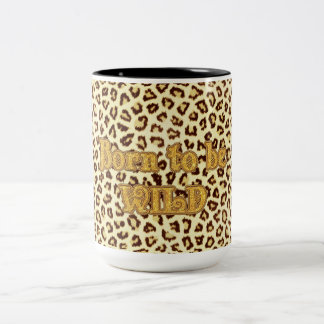 "Image of Glitter ""Born to be Wild"" on Leopard Two-Tone Coffee Mug"