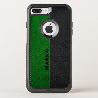 Image Of Green & Black Vintage Leather Monogram OtterBox Commuter iPhone 8 Plus/7 Plus Case