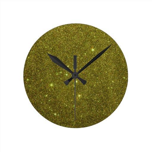 Image of greenish yellow glitter clocks