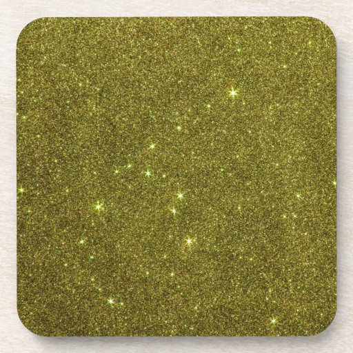 Image of greenish yellow glitter coasters