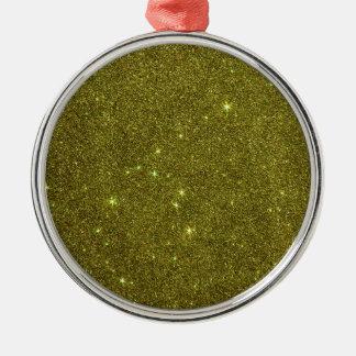 Image of greenish yellow glitter christmas tree ornaments