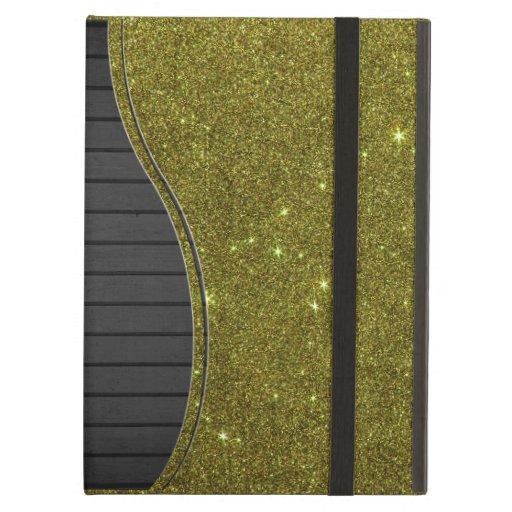 Image of greenish yellow glitter iPad folio case