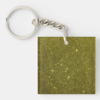 Image of greenish yellow glitter square acrylic key chain