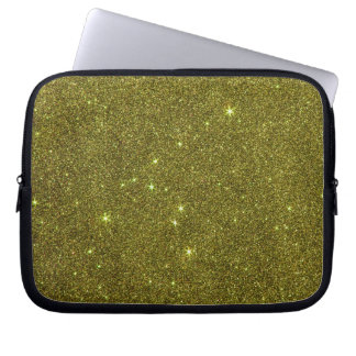 Image of greenish yellow glitter computer sleeve