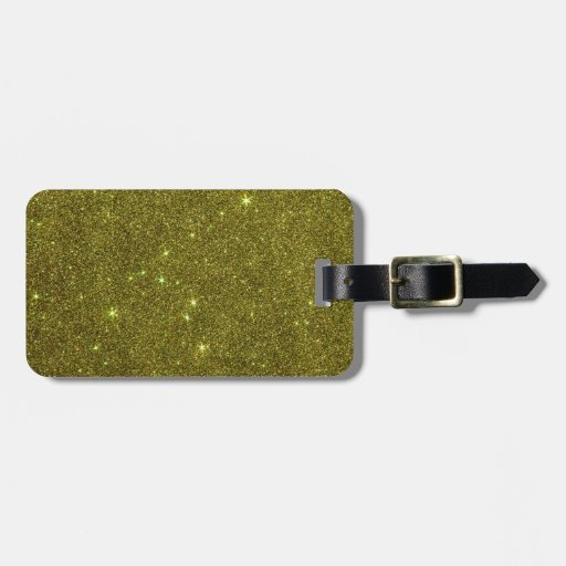 Image of greenish yellow glitter luggage tag