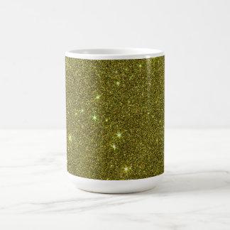 Image of greenish yellow glitter classic white coffee mug