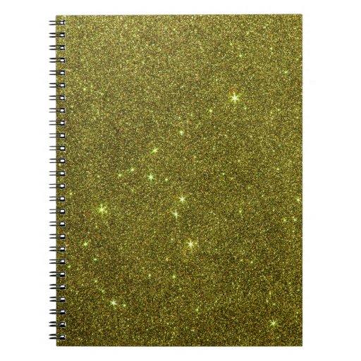 Image of greenish yellow glitter spiral note book