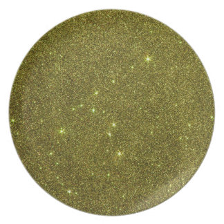 Image of greenish yellow glitter dinner plates