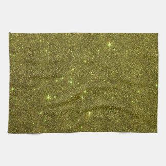 Image of greenish yellow glitter hand towels