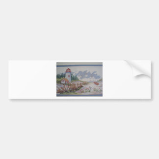 image of lighthouse and house bumper sticker