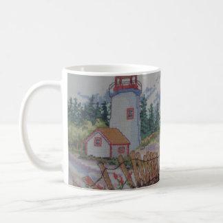image of lighthouse and house coffee mug