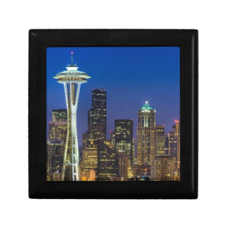 Image of Seattle Skyline in morning hours. Small Square Gift Box