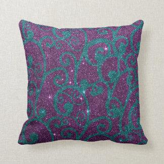 Image of swirly purple and turquoise glitter cushion