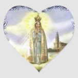 Image of the apparition Our Lady of Fatima Heart Stickers