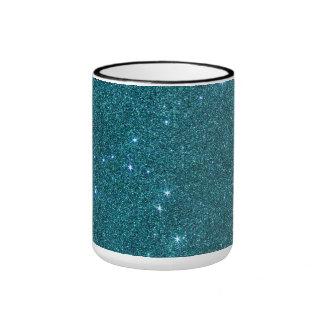Image of trendy teal glitter ringer mug