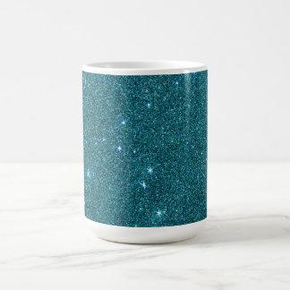 Image of trendy teal glitter basic white mug