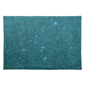 Image of trendy teal glitter placemat