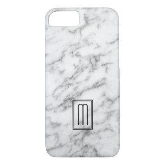 Image Of White & Gray Marble Texture Monogram iPhone 8/7 Case