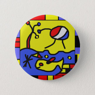 Image with fish modern art 6 cm round badge