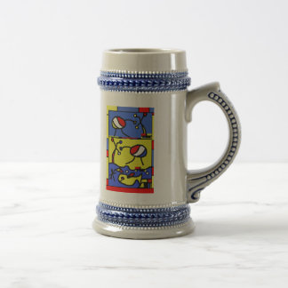Image with fish modern art beer stein