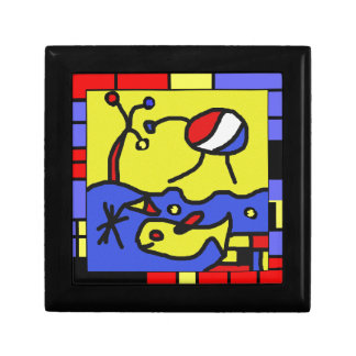 Image with fish modern art small square gift box