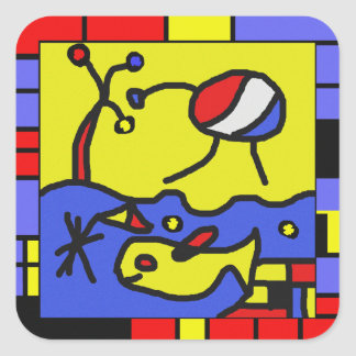 Image with fish modern art square sticker