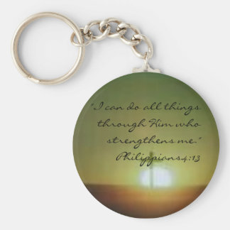 "images, ""I can do all things through Him who st... Basic Round Button Key Ring"