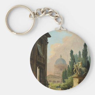 Imaginary View of Rome with the Horse-Tamer Basic Round Button Key Ring