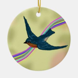 Imagination in Flight Bluebird and Rainbow Ceramic Ornament