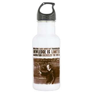 Imagination is more important than knowledge 532 ml water bottle