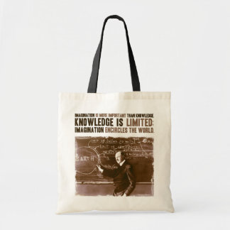 Imagination is more important than knowledge budget tote bag