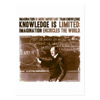 Imagination is more important than knowledge postcard