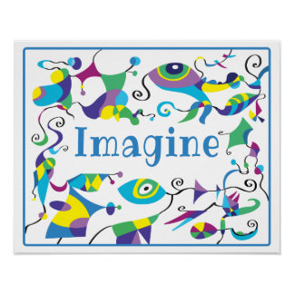 Imagine Abstract Decor Poster for Child's Room