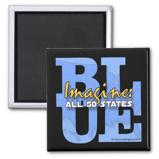 Imagine All 50 States Blue Refrigerator Magnets