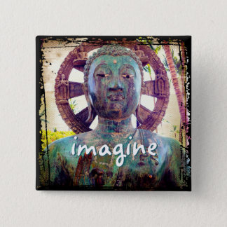 """Imagine"" Asian turquoise statue head photo button"