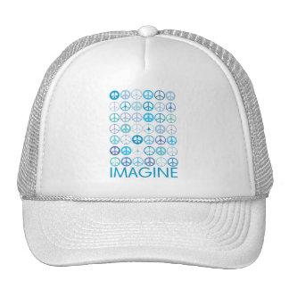 IMAGINE - Blue International Peace Signs Cap