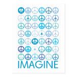 IMAGINE - Blue International Peace Signs Postcard