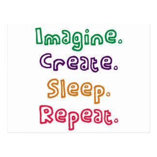 Imagine. Create. Sleep. Repeat. Postcard