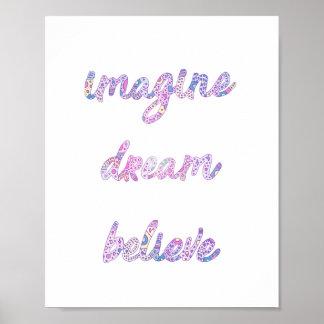 Imagine Dream Believe Quote Pastel Wall Art Kids