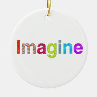 Imagine fun colorful inspiration gift ceramic ornament