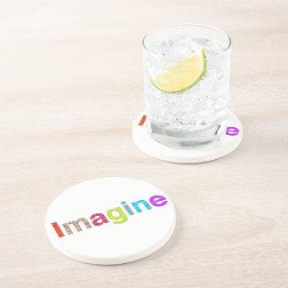 Imagine fun colorful inspiration gift coaster
