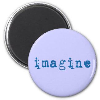 Imagine in Blue Typewriter Font 6 Cm Round Magnet