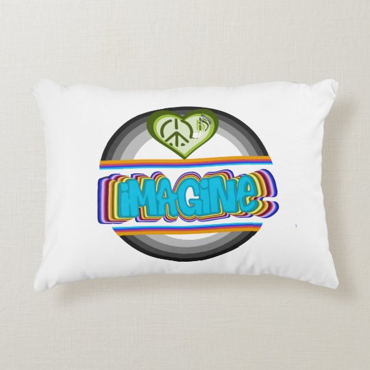 iMAGINE in circle heart with music note Decorative Cushion