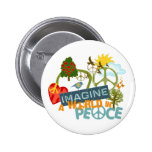 Imagine Peace Abtract Art 6 Cm Round Badge