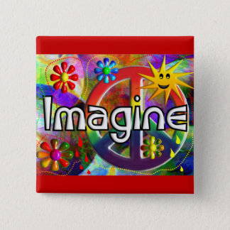"""Imagine"" Psychadelic 70's Gifts 15 Cm Square Badge"