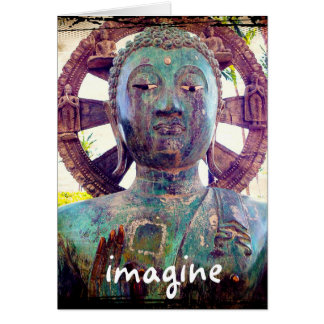 """""""Imagine"""" quote Asian statue photo blank inside Card"""