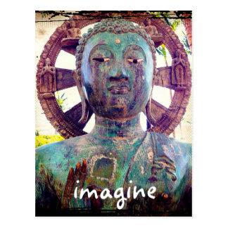 """Imagine"" quote Asian turquoise blue statue photo Postcard"