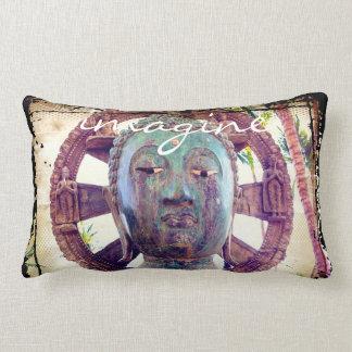 """Imagine"" Quote Asian Turquoise Metal Statue Photo Lumbar Cushion"